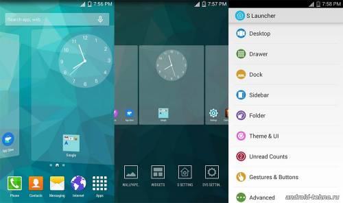 Смартфон в стиле Samsung S Launcher (Galaxy S6 Launcher)