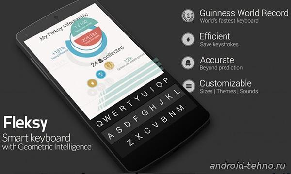 Fleksy Keyboard - Happy Typing на Androidскачать бесплатно для Андроид